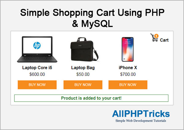 Simple Shopping Cart using PHP and MySQL